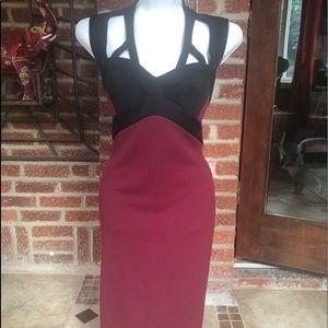 Sexy two-tone midi dress
